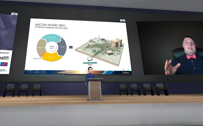 Our representative Paweł Zarzeczny, presenting at the KIKE Conference 2020 using the platform Avatarland