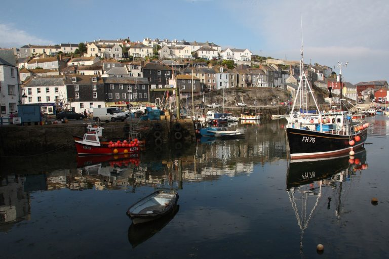 Houses by the harbor in Mevagissey